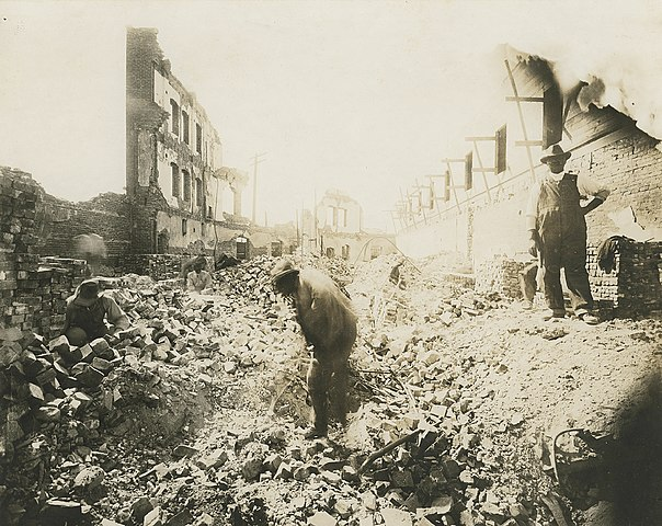 A picture of Greenwood's Gurley Hotel after the 1921 Tulsa Race Massacre.