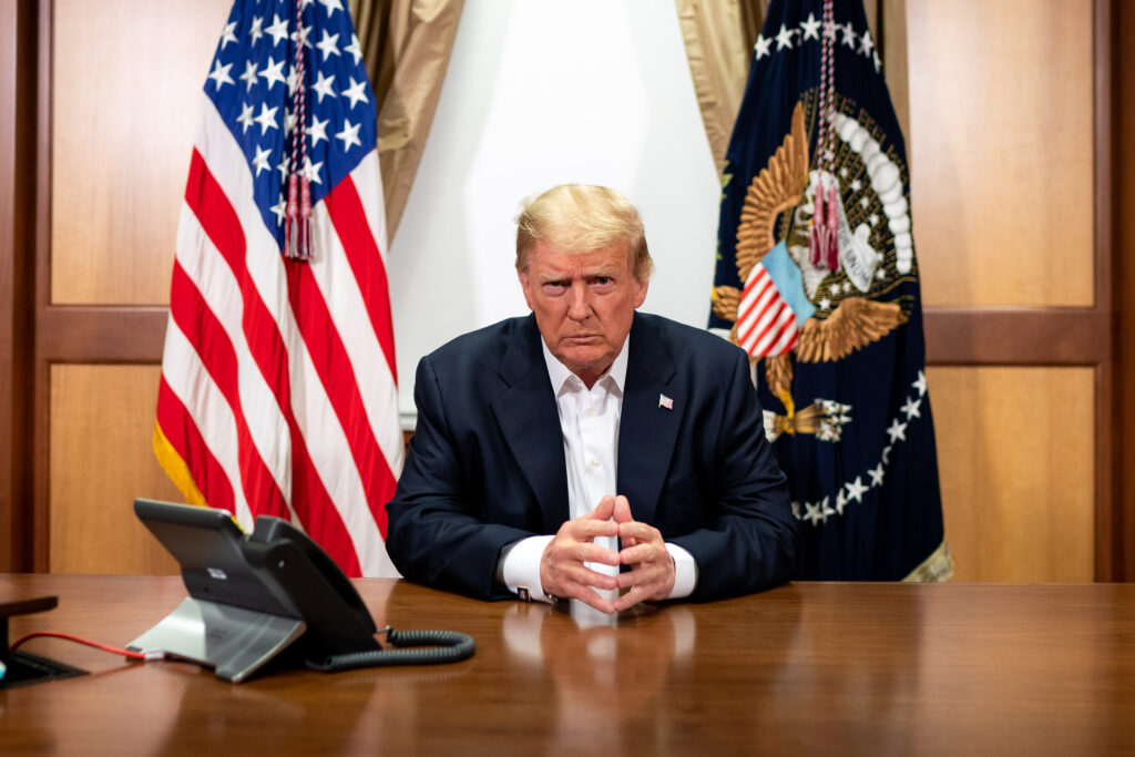 President Donald Trump participates in a phone call on Sunday, Oct. 4, 2020, in his conference room at Walter Reed National Military Medical Center in Bethesda, Md., where he was receiving treatment for Covid-19.