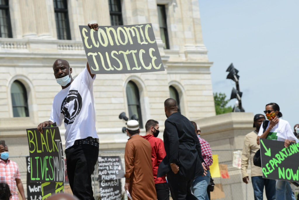 About 300 people gathered outside the Minnesota capitol building to demand reparations from the United States government on June 19, 2020, Juneteenth.