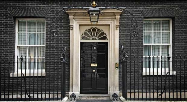 The front door of Number 10 Downing Street, the official residence of the Prime Minister of the United Kingdom.