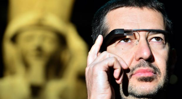 A man tests a pair of Google glasses equiped with Italian Sign Language capabilities and created to help deaf people during their visit of the Egyptian Museum in Turin, on November 11, 2013. The Museum of Egyptian Antiquity in Turin is dedicated solely to Egyptian art and culture, and it is the first museum of its kind to use the interactive glasses to assist deaf people during their visit.