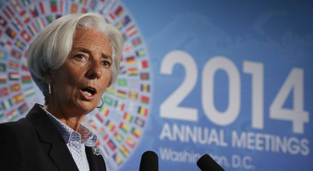 International Monetary Fund Managing Director Christine Lagarde delivers opening remarks during a panel about sustanable and robust economic growth at the Jack Morton Auditorium at George Washington University October 8, 2014 in Washington, D.C. The IMF and the World Bank Group are holding their 2014 annual meetings in Washington.