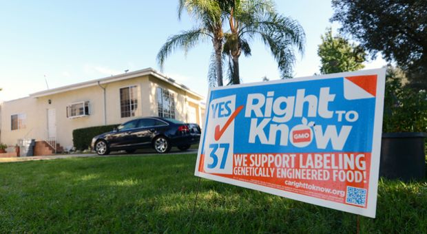 A sign supporting Proposition 37 which calls for the mandatory labeling of genetically engineered foods is seen in front of a home in Glendale, California October, 19, 2012.