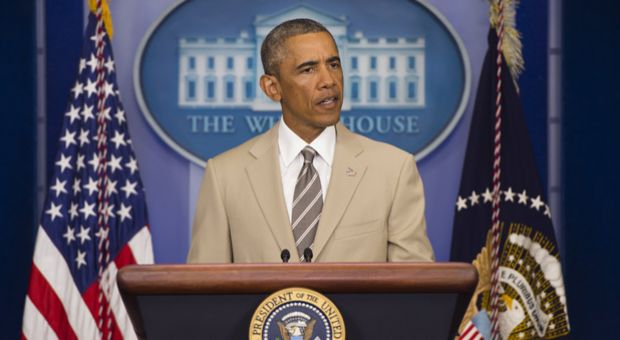 President Barack Obama speaks in the Brady Press Briefing Room at the White House in Washington, D.C., August 28, 2014.