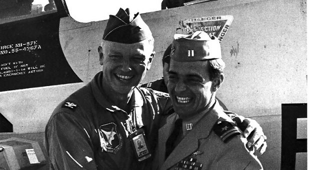 Colonel Eugene Deatrick (USAF) and Lieutenant Dieter Dengler (USN) at Miramar Naval Air Station in 1968.