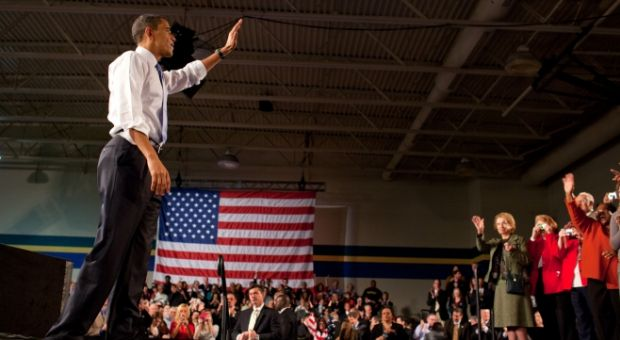 President Barack Obama waves to members of the crowd, following his remarks on health insurance reform at the Walter F. Ehrenfelt Recreation and Senior Center in Strongsville, Ohio, March 15, 2010.