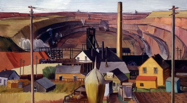 """Northern Minnesota Mine"" by artist E. Dewey Albinson, born in Minneapolis, Minnesota in 1898; died in Mexico in 1971. Oil on canvas. Dewey produced this work under President Franklin D. Roosevelt's ""Public Works of Art Project"" (PWAP) designed to help foster artists' works for public buildings during the Great Depression."