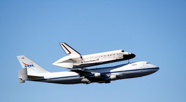 The Space Shuttle Endeavor over Fort Worth, Texas
