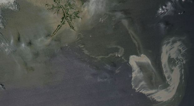 NASA satellite image of the oil spill in the Gulf, May 9.