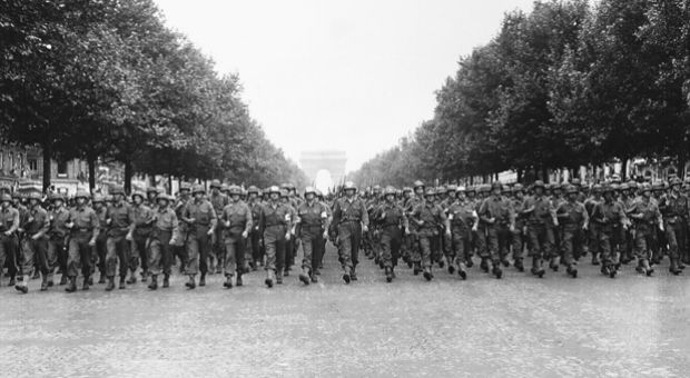 French soldiers were first into a liberated Paris