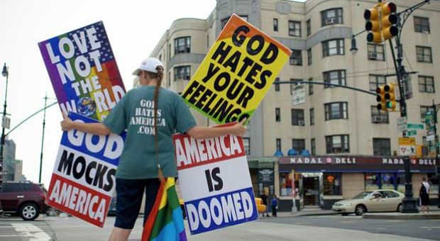 Westboro Baptist Church member Rachel Phelps pickets in the Bronx, protesting the legalization of same-sex marriage in New York.